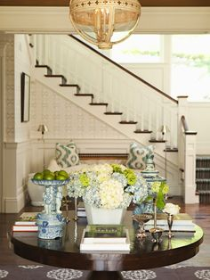 Things We Love Round Entry Table Thornton Design Stairs Entrance Foyer