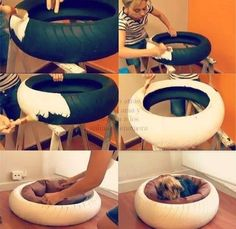 Fantastic Pet Bed ideas Cute idea for dog bed. Not sure I want a tire in my house, but love the concept.Cute idea for dog bed. Not sure I want a tire in my house, but love the concept. Animal Projects, Diy Projects, Tire Craft, Diy Dog Bed, Diy Bed, Homemade Dog Bed, Old Tires, Recycled Tires, Diy Stuffed Animals