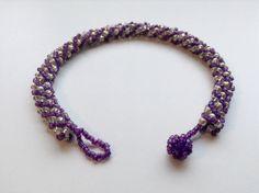 Purple and silver bead weave bracelet by LadyofAlbionJewels
