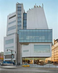 An exterior view of the Whitney Museum, Renzo Piano. Go to the terrace for stunning sunset views