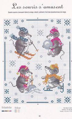 Winter mice cross stitch
