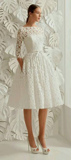Ivory dress with lace overlay, 3/4 sleeves and full skirt