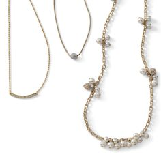Layering necklaces: Delicate favorites like the Raise the Bar, Glitter Ball and Crystals and Cream necklaces look great together.