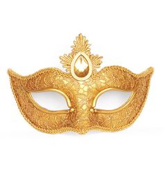 Antique Gold Masquerade Mask Covered With Lace -  Venetian Mask With Polymer Clay Decoration And Large Gem