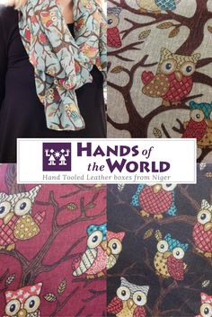 Gorgeous selection of fashionable scarves from around the world.  These the adorable owl scarves available in several color options.  The height of Fall and Winter fashion.  Located in the Pike Place Market.