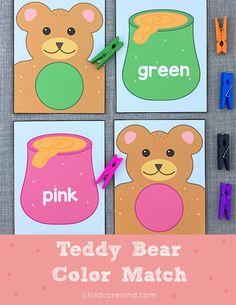 Teddy Bear Color Match Early Learning Activities, Classroom Activities, National Teddy Bear Day, Bear Theme, Card Stock, Pikachu, Preschool, Lettering, Grandchildren