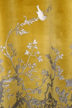 Timorous Beasties Fabric - Birdbranch Velvet Panel, I need these for my room! Textile Design, Fabric Design, Timorous Beasties, Shades Of Yellow, Fabric Wallpaper, Chinoiserie Wallpaper, Mellow Yellow, Gray Yellow, Color Yellow