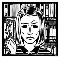 msgier:    Margot Tenenbaumfrom Wes Anderson's The Royal Tenenbaums  A linocut relief print by Mike Sgier. Prints can be purchased here.