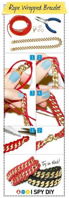 I Spy DIY: [my DIY] rope wrapped chain bracelet by chenbeg Crafts To Do, Arts And Crafts, Diy Crafts, I Spy Diy, Fun Diy, Armband Diy, Do It Yourself Jewelry, Bijoux Diy, Crafty Craft