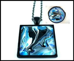 NEW PAINTING ON WATER COLLECTION - To create this pendant I painted on water and transferred it into glass