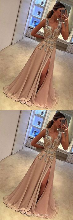 Long Prom Dresses With Slit, Lace Prom Dresses 2018, A-line Evening Dresses V-neck, Chiffon Graduation Dresses Cheap