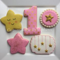 Twinkle Twinkle Little Star themed first birthday cookies