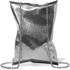 Anya Hindmarch Glittered acrylic clutch ($785) ❤ liked on Polyvore featuring bags, handbags, clutches, silver, chain strap purse, lucite purse, glitter clutches, chain handle handbag and glitter messenger bag