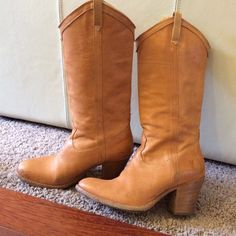 "SOLD!  Frye cowboy style boot camel colored These will go with everything!  I believe the style name is ""Taylor"".  Buttery soft leather and so comfortable!  Water stain on outside of right boot.  Priced accordingly but make me an offer! Shoes"