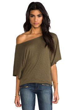 Michael Stars Short Sleeve Off Shoulder Dolman Top in Vintage
