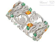 Chopard , bracelet lapin en or blanc , diamant et grenats mandarin et tsavorite