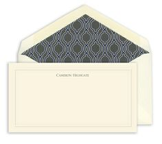 Ecru Embossed Border Monarch Correspondence Cards