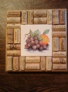 Items similar to Wine Cork Trivet/Wall Art - Grape Motif on Etsy Wine Cork Trivet, Wine Cork Art, Wine Bottle Art, Wine Bottle Crafts, Wine Bottles, Wine Craft, Wine Cork Crafts, Cork Frame, Upcycled Crafts