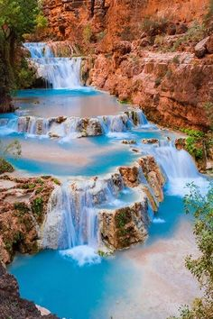 Stunning blue waterfall     Havasu Falls     Beaver Falls  on Havasu Creek, Grand Canyon, Arizona