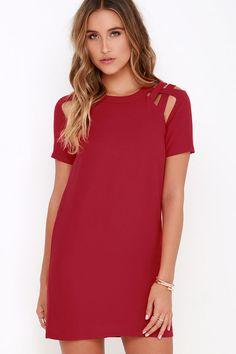 Wine Red Shift Dress ==