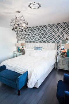 Steal the look of this pricey wallpaper using the Tamara Trellis Stencil. http://www.cuttingedgestencils.com/tamara-trellis-allover-wall-stencils.html #stenciling #guest #room #wallpaperlook
