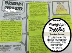 **FREE*** Paragraph Organizer!!!! Students can write about a character's traits using Post It Notes with this paragraph organizer!!! {FREE Download!}