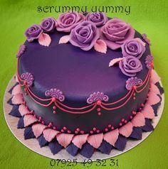 Round Wedding Cakes - purple leather & roses wedding cake