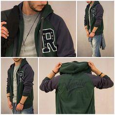 Ανδρική ζακέτα φούτερ δίχρωμη με κουκούλα για sport-casual style!!!  #metaldeluxe #men #menfashion #clothes #style #jacket #hoodie