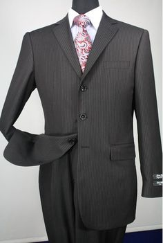 Apollo King Men's 2 Piece Wool Blend Executive Suit - Pleated ...