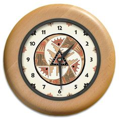 Red Rock Round Wood Wall Clock - From our Southwestern Clocks category, this clock has art work inspired by traditional Native American pottery designs.  $63.00