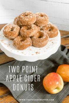 Two Point Apple Cider Donuts - Pound Dropper - Health Recipes Donut Recipes, Ww Recipes, Fall Recipes, Whole Food Recipes, Cooking Recipes, Apple Recipes, Recipies, Light Recipes, Sweet Recipes