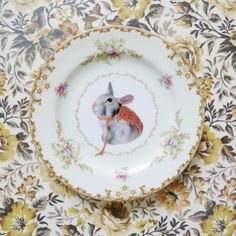 The perfectly gorgeous work of Tiff from Dottie Angel Large Rabbits, Dottie Angel, Year Of The Rabbit, Easter Parade, Bunny Art, Plate Design, China Painting, Plates And Bowls, China Porcelain