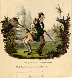 1831-34 Satire on cits in the countryside; two dandies standing back to back in a field, both terrified and holding guns, caught between a bull looking over a gate and an ass sticking its head through a bush.  Hand-coloured lithograph britishmuseum.org