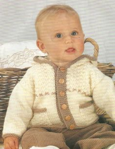 KNITTING PATTERN - BABY BOYS CARDIGAN / JACKET WITH HOOD | eBay