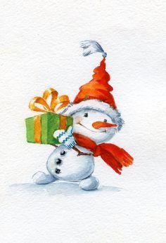 Christmas snowman good morning