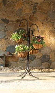 Mr Stacky 4 Tier Indoor Outdoor Metal Plant Stands - Tall Black Hanging Baskets Plant Holder - Sturdy Hangable Tree Stand for Herbs Strawberries Flowers Peppers Lanterns Lights or Other Plants and Accessories by Mr Stacky,