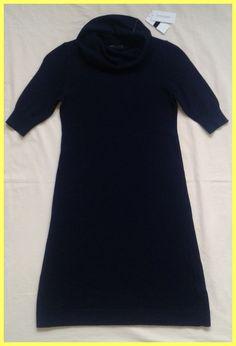 NWT $110 BANANA REPUBLIC NAVY BLUE WOOL CASHMERE COWL NECK SWEATER DRESS Sz XS  #BananaRepublic #SweaterDress