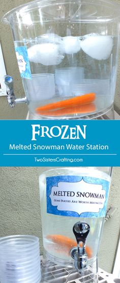 Disney Frozen Melted Snowman Water Station a fun and easy project for your Frozen Birthday Party. Some party's are worth melting for! Follow us for more great Frozen Party Ideas.