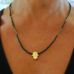 Simple necklace, Hamsa necklace green beads