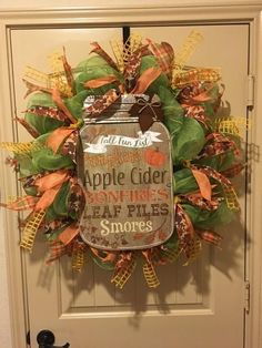 """Fall Mason Jar Wreath with """"Fall Fun List"""" decoupage mason jar shaped wall hanging with distressed wood accented with tin top, leaf and curled wire hanger. Thanksgiving Crafts, Thanksgiving Decorations, Fall Crafts, Holiday Crafts, Fall Decorations, Halloween Decorations, Diy Fall Wreath, Autumn Wreaths, Holiday Wreaths"""