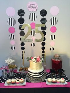 Gold, pink and black 25th birthday party dessert table! See more party ideas at CatchMyParty.com!