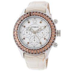 Ρολόι Vogue Crystal Lady Chrono White Dial Beige Leather Strap bb92f57d2b1