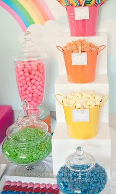 Rainbow party dessert table @Kellie Dyne Dyne Moore Dollar Tree has very similar containers right now