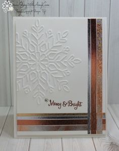 I used the Stampin' Up! Season to Sparkle stamp set, the Winter Wonder Embossing Folder and a little of theYear of Cheer Specialty Washi Tape from the upcoming 2017 Holiday Catalog to create…