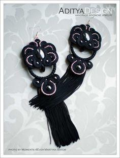 Soutache Earrings Tassel Gold Black OOAK Earrings by AdityaDesign