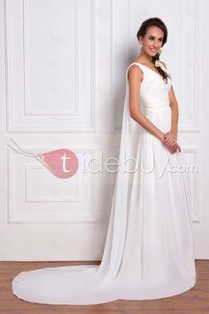 帝国vネック床長さのチャペルフリルウェディングドレス