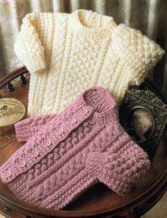 Baby Knitting Patterns Baby Knitting Pattern Baby Aran Sweater Baby Aran Cardigan C… Baby Knitting Patterns, Baby Sweater Patterns, Baby Cardigan Knitting Pattern, Knit Baby Sweaters, Knitting For Kids, Baby Patterns, Free Knitting, Vintage Patterns, Aran Sweaters