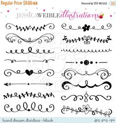 ON SALE Black Hand Drawn Text Dividers Vintage by JWIllustrations