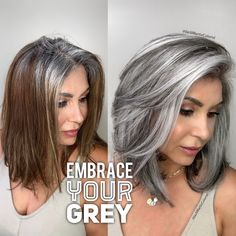 Natural Looking Grey Hair Color Grey Hair Don't Care, Long Gray Hair, Silver Grey Hair, Grey Hair With Black, Grey Brown Hair, Grey Hair Dye, Silver Nails, Silver Dress, Silver Shoes