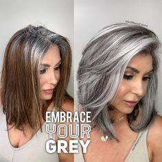 Natural Looking Grey Hair Color Silver Grey Hair, Long Gray Hair, Grey Hair With Black, Grey Brown Hair, Silver Nails, Silver Dress, Silver Shoes, Black Box, Brown Eyes
